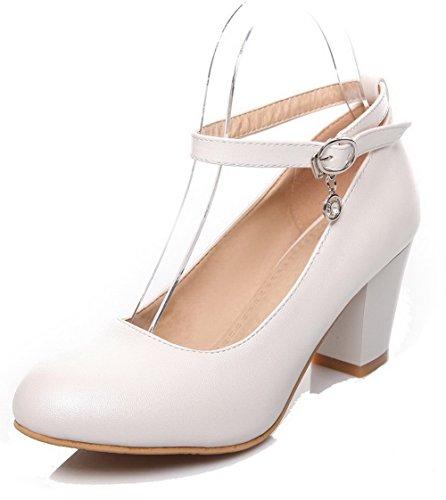AgooLar Femme Matière Souple Boucle Rond à Talon Correct Couleur Unie Chaussures Légeres Blanc