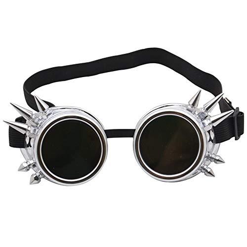 Dfghbn Retro Vintage viktorianischen Steampunk Brille Gläser Schweißen Cyber   Punk Gothic Cosplay Sunglasse (Farbe : Bright Silver, Größe : Free Size)