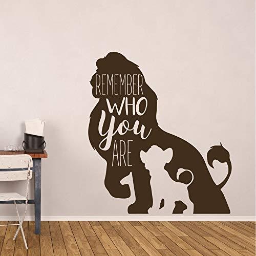 Preisvergleich Produktbild EUFJSDHF Wandaufkleber Lion King Wall Sticker Vinyl Wall Decal Kids Room Decoration Remember Who You Are Quote Wall Art Mural