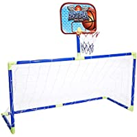 Alomejor Kids Basketball Toy Kit Equipos Deportivos Basketball Soccer Hoop Tablero Trasero