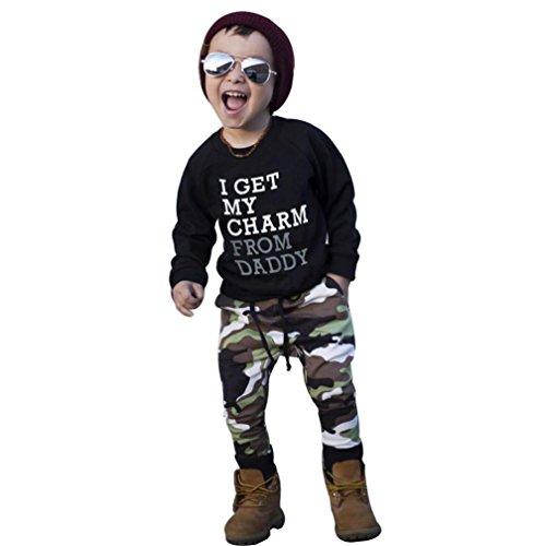 Oberteile Hosen Janly Kleinkind Kinder Camouflage Outfits mit ICH ERHALTEN MEINE CHARME Buchstaben T-Shirt Lange Hosen für 0-4 Jahre Baby Jungen (2-3 Jahre alt, Schwarz) - Licht Blau Kleinkind-shirts