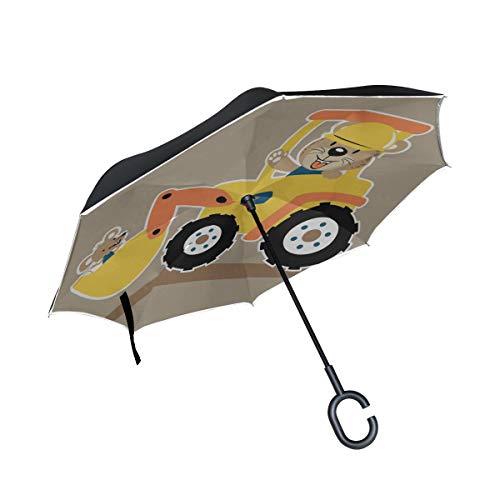Auto schnelles doppeltes Schicht faltendes Anti Uv Schutz winddichtes Regen gerades Auto Golf umgekehrtes umgekehrtes Regenschirm Stativ mit C förmigem Griff fährt ()