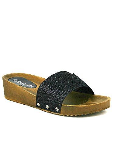 Cendriyon, Compensée noire MOANA Confort Chaussures Femme Noir
