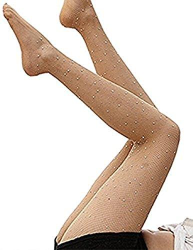 Taille eng Sparkle Strass Strümpfe Netzstrumpfhose (Beige) (Baby Sparkle Strumpfhosen)