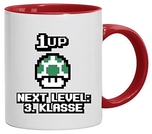 Videospiel Gamer Schulstart Schulkind bedruckte 2-farbige Kaffeetasse Bürotasse mit Spruch Motiv Retro Gamer 1 Up Pilz - Next Level 3. Klasse, Größe: onesize,weiß/rot