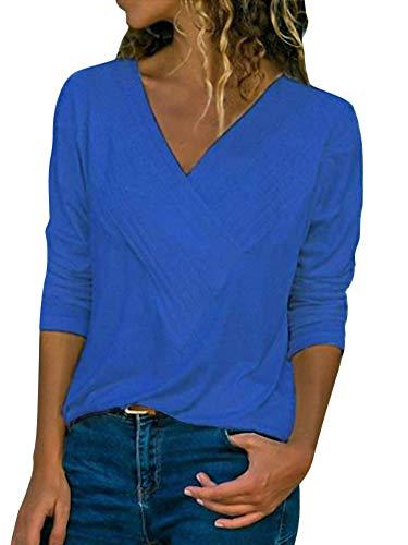ShallGood Damen Pulli Langarm T-Shirt V-Ausschnitt Lose Bluse Langarmshirts Hemd Pullover Casual Wrap Front Sweatshirt Oberteil Basic Tops Shirts Blau DE 46 - Langarm-wrap Cardigan