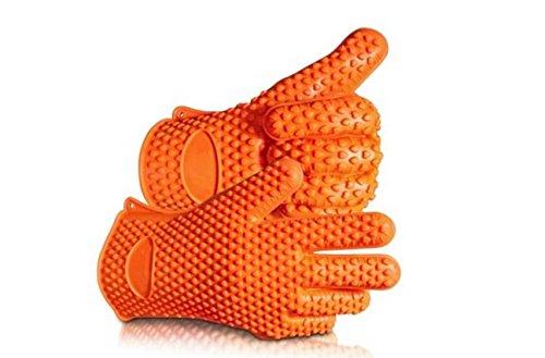 Barbecue Handschuhe, Silikon Heat Resistant Grill Zubehör & Home Kitchen Tools für Ihre Indoor & Outdoor Bedürfnisse Kochen, Einsatz als Grillfleisch Turner oder Topflappen (Orange)