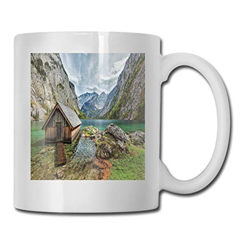 Jolly2T Funny Ceramic Novelty Coffee Mug 11oz,Dock On The Lake with Small Shed Alpine Mountains Germany European Nature Photo,Unisex Who Tea Mugs Coffee Cups,Suitable for Office and Home (Alpine Replay)
