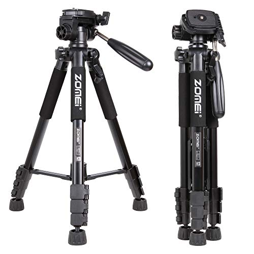 Zomei Q111 58 Zoll Portable Light Weight Traveller Stativ mit Pan Head Kamera Stativ Professional Camcorder für DSLR DV Canon Nikon Sony, schwarz