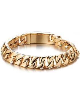 Große Schwere Goldene Panzerkette Armband für Herren Edelstahl-Armband Hochglanzpoliert 22CM