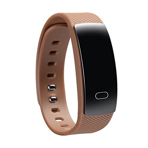 Fitness Sport Smart Armband, IP67 wasserdicht, Blutdruck, Schlaf Erfassungsimpuls, Kalorien Verfolgung und Überwachung, Handy-Synchronisation, intelligent Uhr kompatibel: Android 4.4 System, IOS8.0 ( farbe : Kaffee ) Prüfung Smart