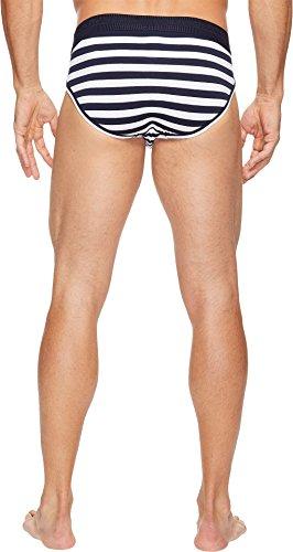 Dolce & Gabbana Men Slip, Midi lettera in cotone elasticizzato, a righe - Blu/Bianco Blu/Bianco