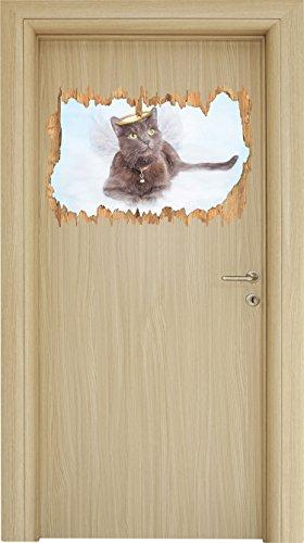 Katzen-Engel auf einer Wolke im Himmel Kunst Buntstift Effekt Holzdurchbruch im 3D-Look , Wand- oder...