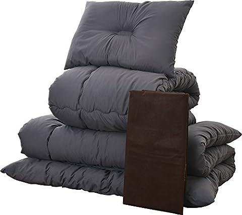 Emoor 4-Pieces Japanese Futon Set LEGENDA 4 - Single Size, Gray Color (Set of Comforter, Mattress Futon, Pillow and Storage Case) (japan import)
