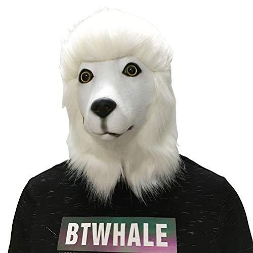 BESTOYARD LatexHundeMaske TierkopfTiermaske fürHalloweenKostümCosplayKarneval PartyErwachsene (Pudel)
