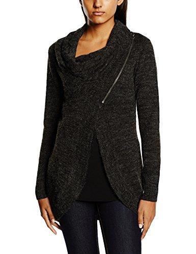 ONLY Damen Regular Fit Strickjacke Onlnew Hayley L/s Zip Knt Noos Gr. 40 (Herstellergröße: L) Grau (Dark Grey Melange)