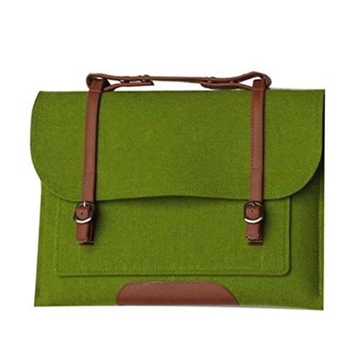 GWELL Fashion Filztasche mit Pu Leder Schultertasche Aktentasche Laptoptasche Notebooktasche Umhängetasche grün 15,4 Zol -