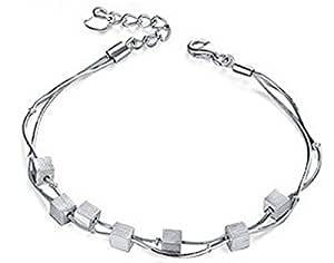 Lily Jewelry 2015 Classic Simple Silver Shining Beautiful Double Strand Charm Bracelet for Women