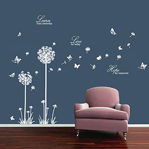 decalmile Pegatinas de Pared Diente de León Mariposas Vinilos Decorativos Frases Learn Live Hope Adhesivos Pared Dormitorio Salon Habitacion (Blanco)