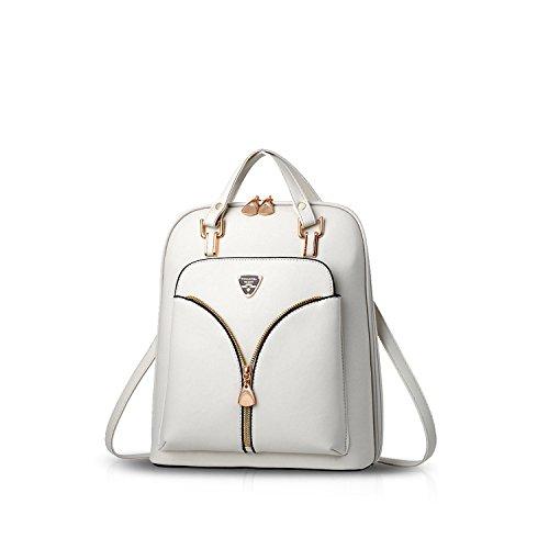 NICOLE&DORIS Mode Schön Damen Rucksack Schulrucksack Reisen Daypacks Tasche Für Outdoor Wasserdicht Dauerhaft PU Weiß