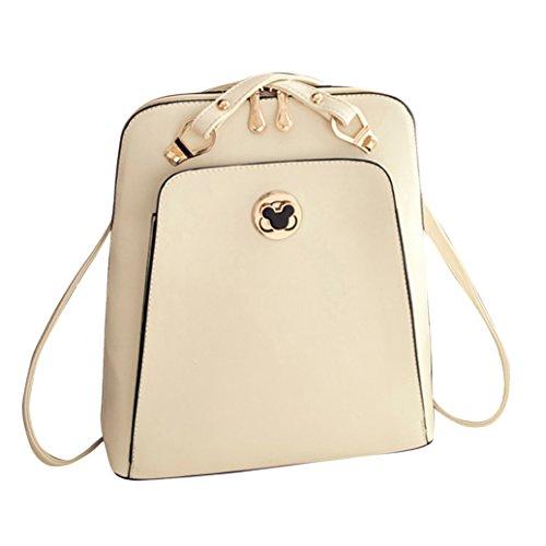 SaiDeng Femmes/Filles Casuel Sac à Dos Zippé Elégant et Simple Blanc
