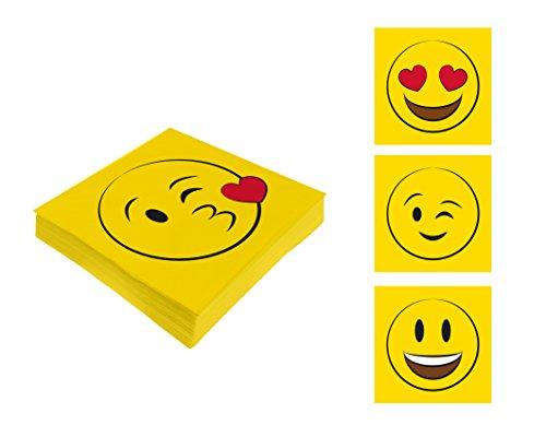 Bada Bing 4er Set Servietten 80 Stück Gelbe Gesichter Emoji Smiley Lustig Kinder 75 (Denken Panther)