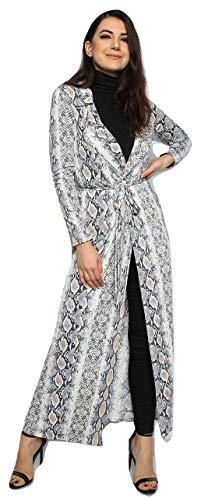 Momo&Ayat Fashions Damen Snake Leopard Slinky Duster Maxi Longline-Jacke EUR Größe 36-42 (EUR 40 (UK 12), Schlange drucken)