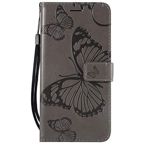 Thoankj Sony Xperia L3 Hülle 2019 PU Leder Flip Notebook Wallet Case Schmetterling geprägt mit Kickstand Kreditkarte Slot Halter TPU Bumper Folio Schutzhülle für Sony Xperia L3