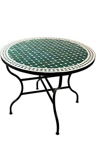 ORIGINAL Marokkanischer Mosaiktisch Gartentisch ø 100cm Groß Rund Klappbar  | Runder Klappbarer Mosaik Esstisch Mediterran |