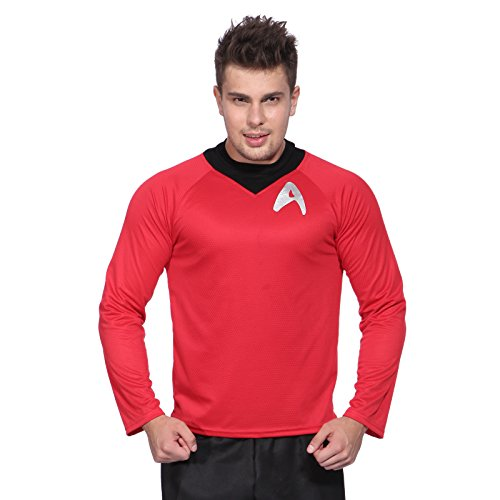 Rot Gr.L Star Trek Herren Maenner Fun T-Shirt Unform Shirt Spock Logic Kostuem Fasching Karneval Halloween