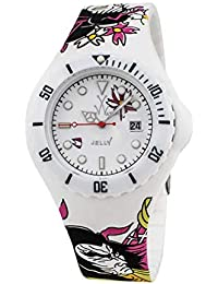 ToyWatch Jelly Samurai Tatuajes Watch, White/Rosa/Green