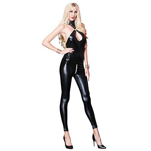 CWZJ Women Es Sexy Leotard Patent Lederstrumpf Hosen -