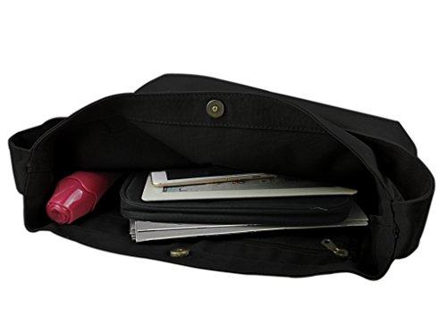 FakeFace Neu Umhängetasche Handtasche Einkauftasche Retro Literarischen Canvas Schultertasche Trage Tasche Messenger Bag Grau Schwarz
