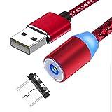 EdBerk74 Câble de Charge magnétique 3 en 1 avec têtes à 3 Cordons (Micro USB/L/Type C) Câble de Charge avec Rotation à 360 ° Cordon de Charge 2M