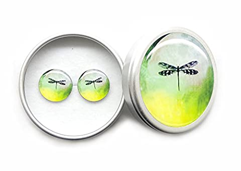 Womens Vintage 12mm Tiny Dragonfly Green 925 Sterling Silver Stud Earrings / Ear Studs for Womens girls