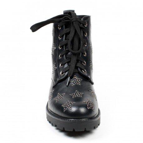 Ideal Shoes - Bottines montantes cloutées étoiles Anastacia Noir