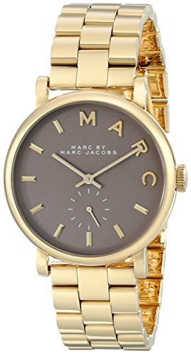 Marc Jacobs Women's Quartz Watch with Brown Dial Analogue Display and Gold Stainless Steel Bangle MBM3281