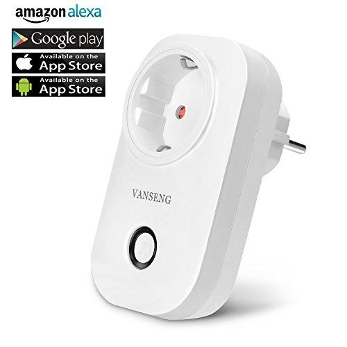 Smart WLAN Steckdose, VANSENG Intelligente Alexa Plug, Arbeit mit Amazon Echo und Google Home, mit App Steuerung überall und zu jeder Zeit, Zeitsteuerung Energiesparfunktion