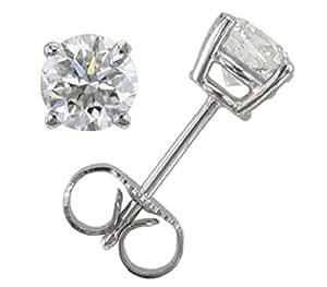 Boucles d'Oreilles Solitaire Or Blanc 375/1000 et Diamant Brillant 0.50 Carat JK-I2 - 4mm*4mm