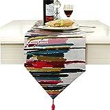 Runner da tavola stilosa, in iuta, con tecnologia jacquard, di colore grigio/blu/rosso, Red, 30cm * 160cm (12' * 63' approx)