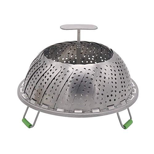 Cesta de acero inoxidable para vaporizador de verduras, ajustable, plegable, para olla a presión instantánea, se ajusta a varios tamaños de ollas para cocinar verduras y alimentos Upgrade 9