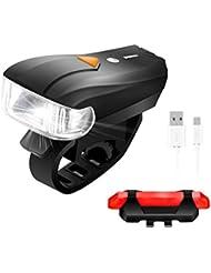 LED Fahrradbeleuchtung,SGODDE 400 Lumen Sensoren Superhell Wasserdicht Fahrradlampe intelligenter Sensor Vorderlicht 5 Licht Modi und rotes Rücklicht mit 4 Modi, USB-Kabel Wiederaufladbare,smarte Fahrradlampensets Rücklicht für Radfahren,Straßenrädern,Kinder- & City-Fahrrädern, erhöhte Sicherheit und Sichtbarkeit