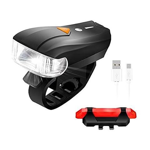 LED Fahrradbeleuchtung,SGODDE 400 Lumen Sensoren Superhell Wasserdicht Fahrradlampe intelligenter Vorderlicht und rotes Rücklicht ,USB Wiederaufladbare,smarte Fahrradlampensets für KStraßenrädern,Kind