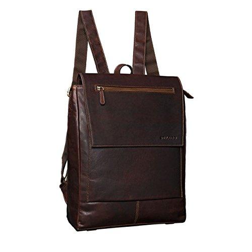 STILORD 'Maurice' Rucksack Vintage Leder Damen Herren eleganter Business Rucksack für 13,3 Zoll Laptop Arbeit Uni Schule groß XL Daypack A4 echtes Büffelleder, Farbe:cognac - dunkelbraun