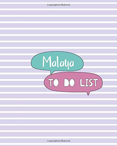 Malaya To Do List: 100 Sheet 8x10 inches for Checklist, Planners, To-Do, Memo, Notes, Checkboxes and Initial name on Matte Pastel Seamless Cover , Malaya To Do List Malaya Cover