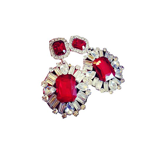 TBOP EARRING THE BEST OF PLANET SIMPLE & STYLISH high-end big earrings luxury super flash gemstone earrings in red color