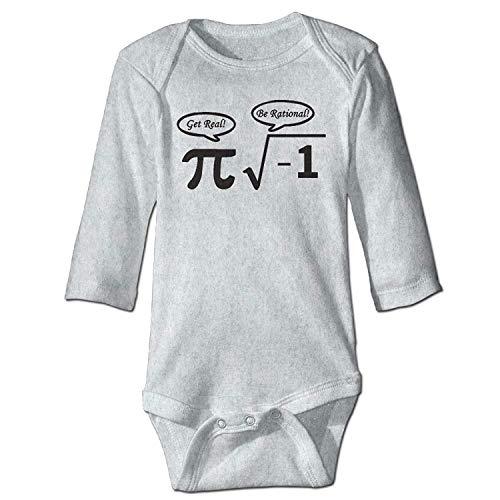 MSGDF Unisex Newborn Bodysuits Nerd Geek PI Baby Babysuit Long Sleeve Jumpsuit Sunsuit Outfit Ash
