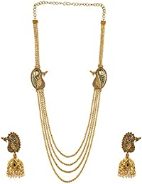 Anuradha Art Goldne Finish Styled With Brown Colour Shimmering Stoen Traditional Long Necklace Set For Women