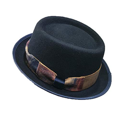 GOUNURE Frauen Wollfilz Roll-up Krempe Porkpie Hut Klassische Vintage Fedora Hüte Trilby Bowler Jazz Hut Sun Cap mit Schleife -