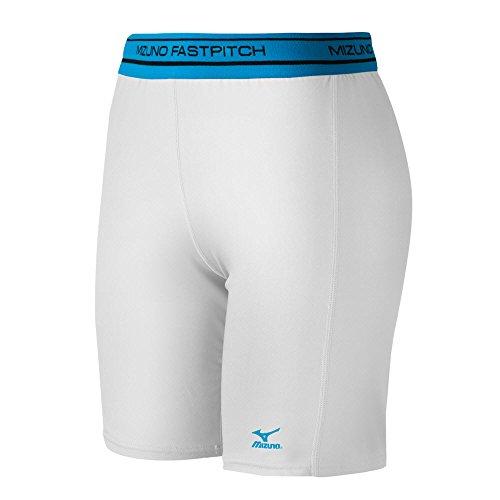 Mizuno Low Rise Kompression Schiebetür Shorts, damen, weiß (Low Rise Damen Softball)